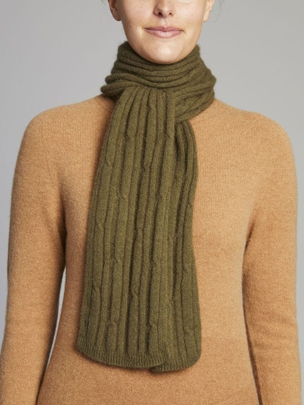 Wyong Textured Cable Knit Merino Wool Scarf