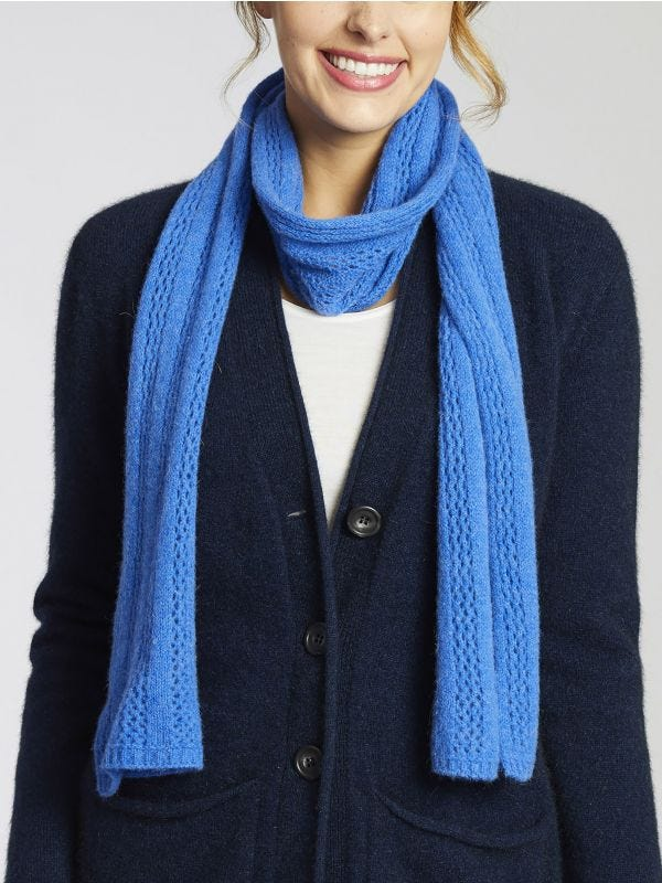 Keppel Lacy Knit Short Merino Wool Scarf