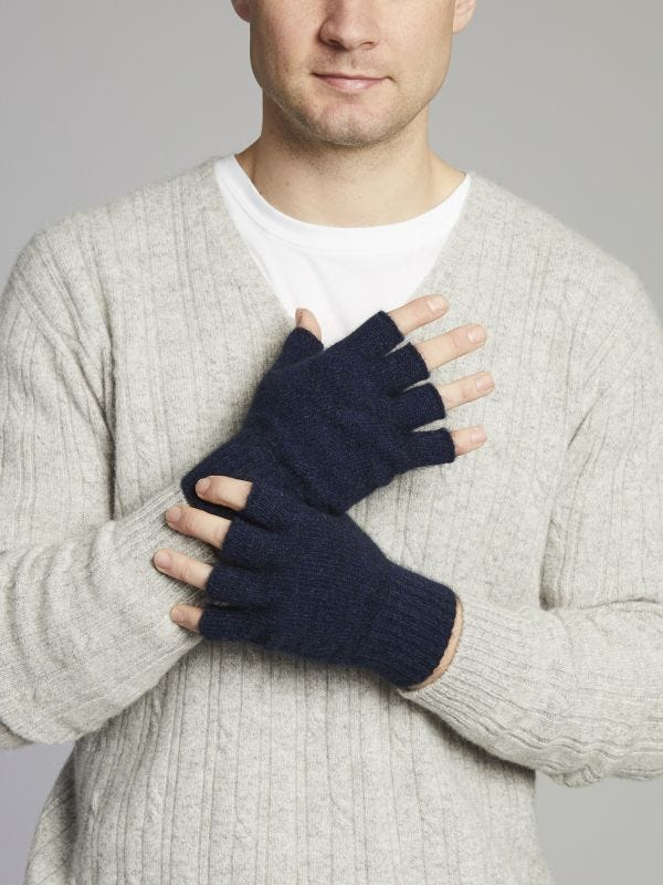 Fingerless Merino Wool Knitted Gloves