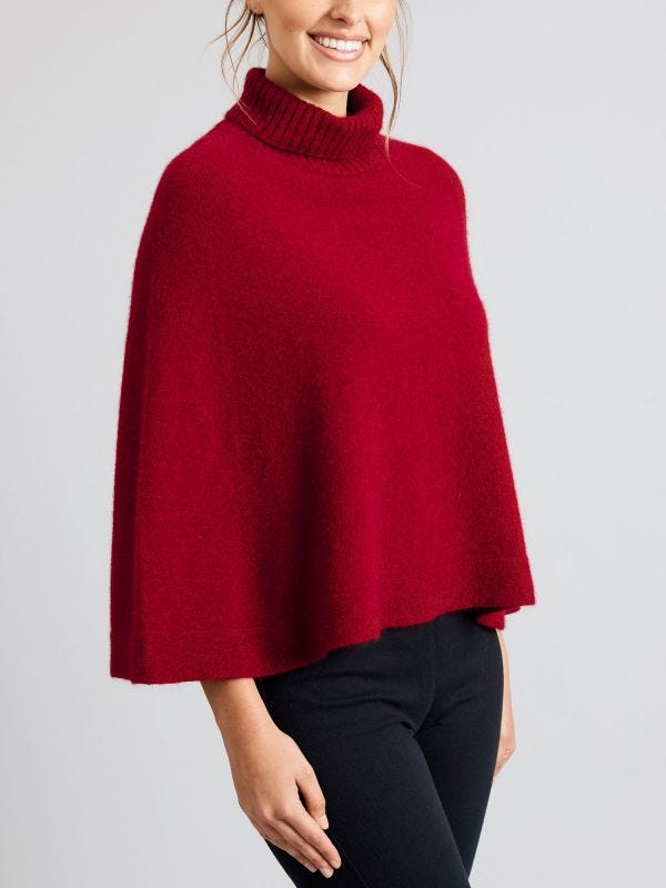 Melbourne Roll Neck Merino Wool Poncho